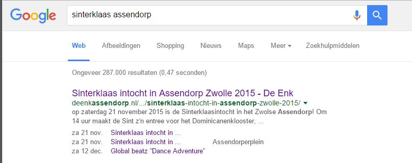 Zoekmachineoptimalisatie sint intocht assendorp 2015 google